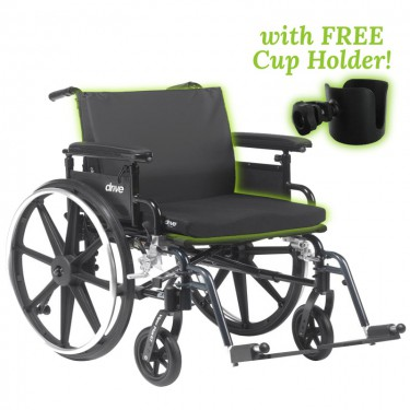 Large Wheel Chair with Cushion - Capacity 400 lbs